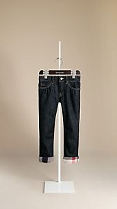 Check Cuff Stretch Denim Jeans