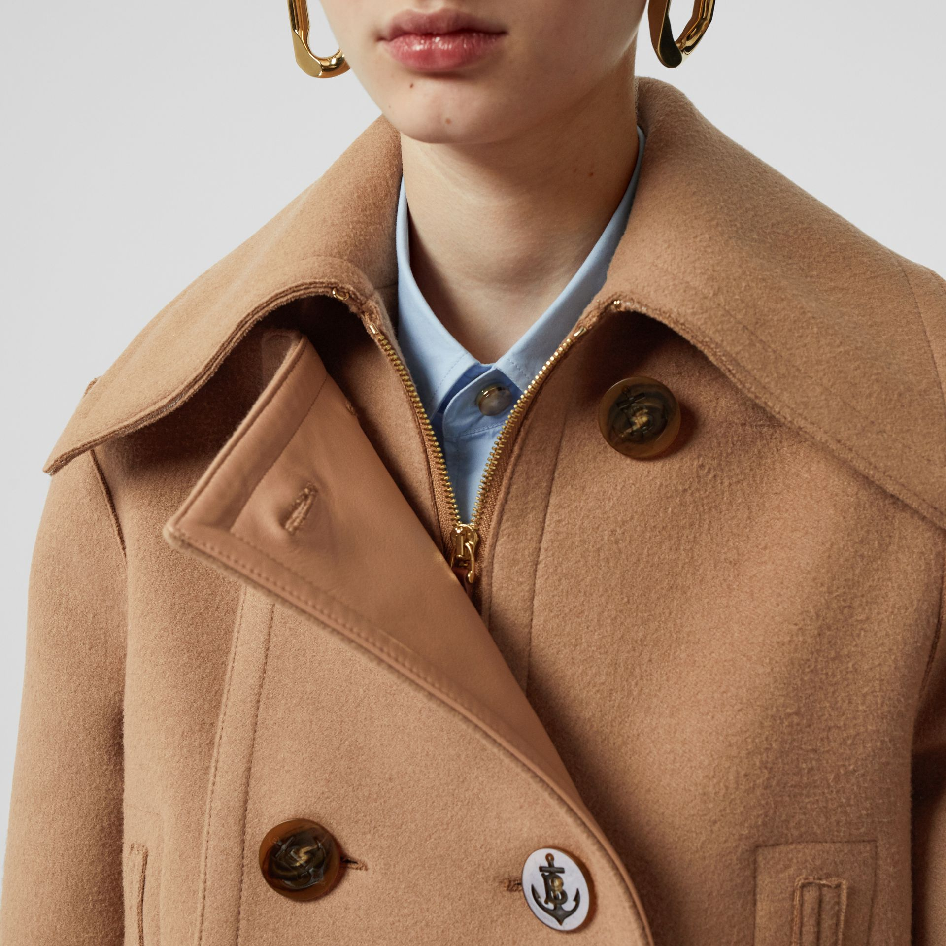 Button Panel Detail Wool Cashmere Pea Coat in Camel - Women | Burberry - gallery image 4