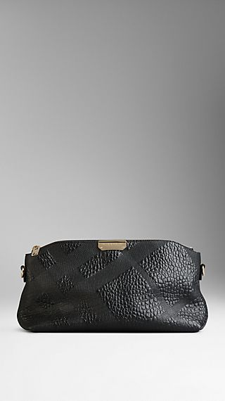 Small Embossed Check Clutch Bag