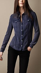 Camicia in denim con colletto a linguetta