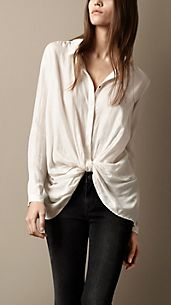 Twist Detail Silk Shirt