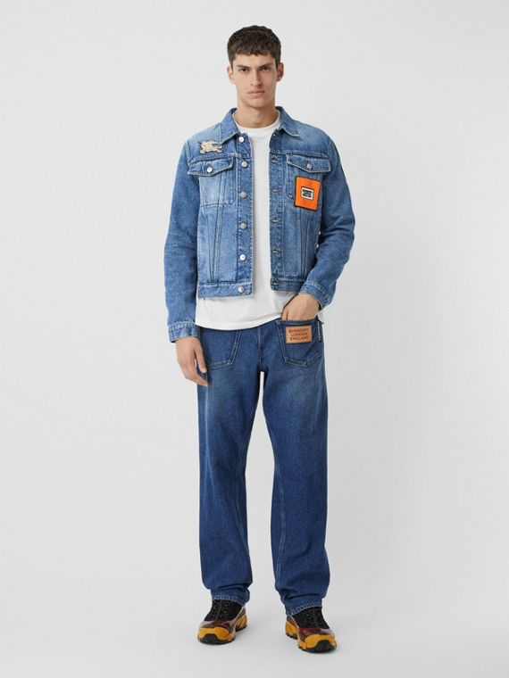 Logo Graphic Appliqué Denim Jacket in Light Indigo Blue