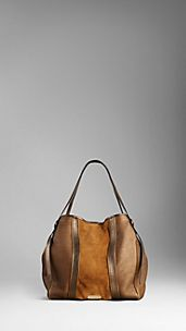 Medium Metallic Leather Colour Block Tote Bag