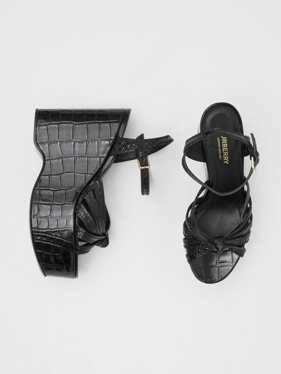 Knot Detail Embossed Leather Platform Wedges in Black