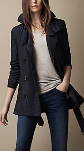 Short Technical Silk Trench Coat