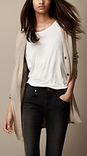 Check-Lined Wool Cashmere Cardigan
