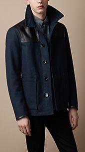 Leather Detail Wool Blend Coat