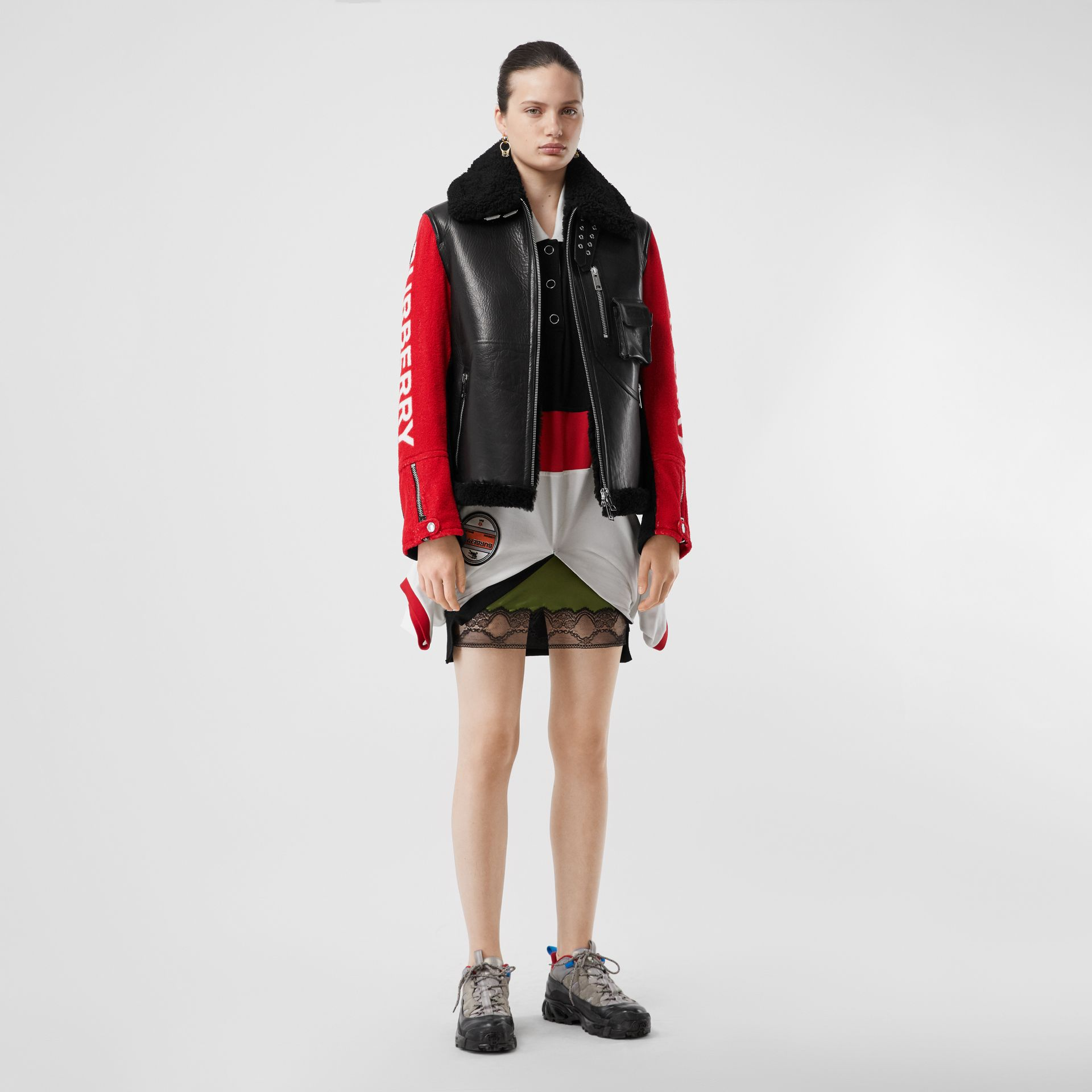 Contrast Sleeve Leather and Shearling Jacket in Black - Women | Burberry United Kingdom - gallery image 0