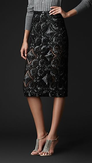 Sequin Detail English Lace Pencil Skirt