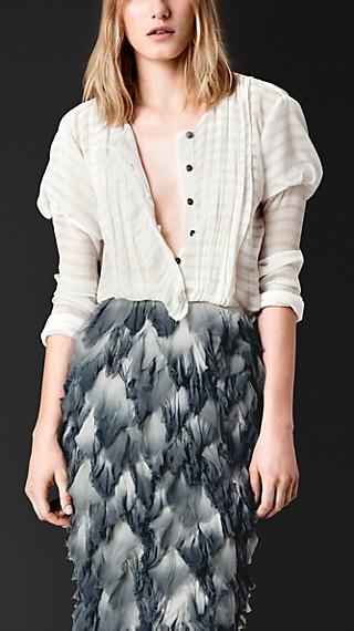 Striped Silk Crépon Ruffle Detail Shirt