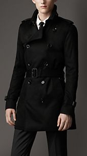 Trench coat de longitud media en algodón técnico