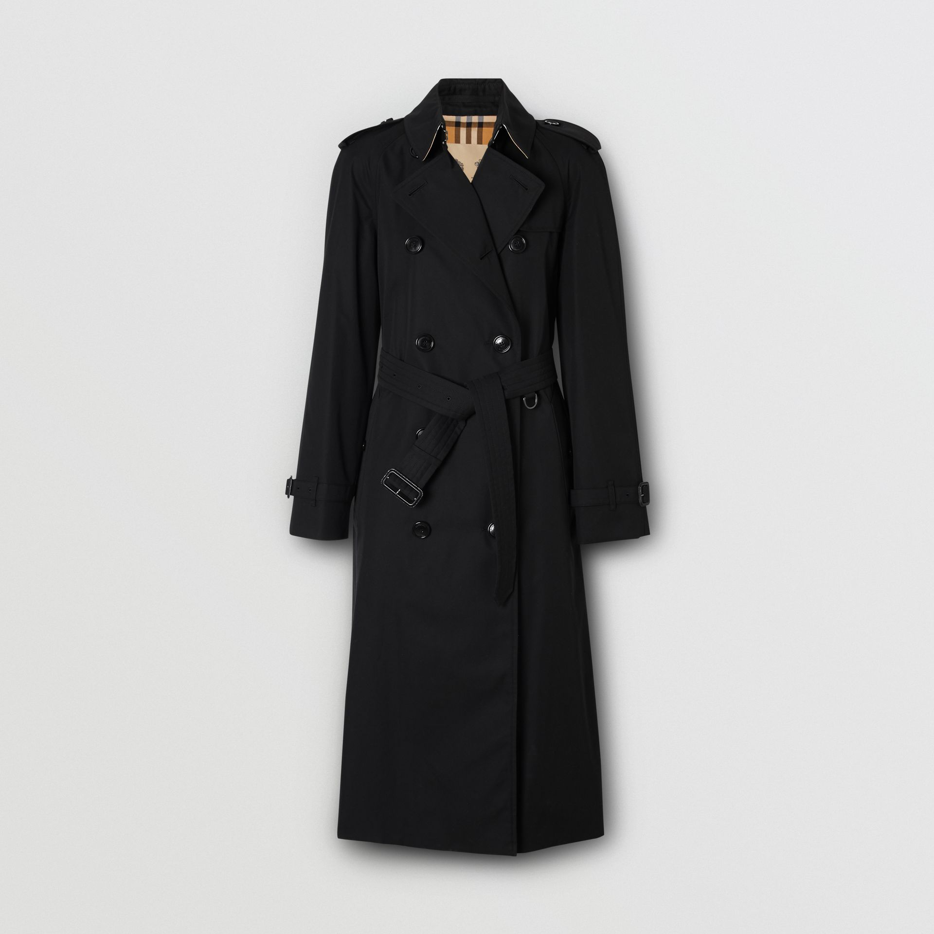 The Long Waterloo Heritage Trench Coat in Black - Women   Burberry United Kingdom - gallery image 3