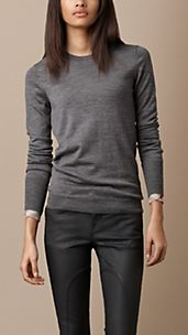 Check Cuff Merino Wool Sweater