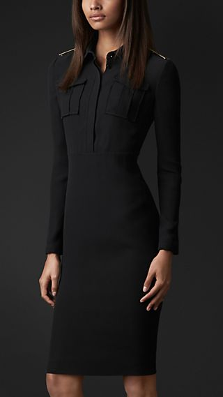 Metal Epaulette Silk Shirt Dress