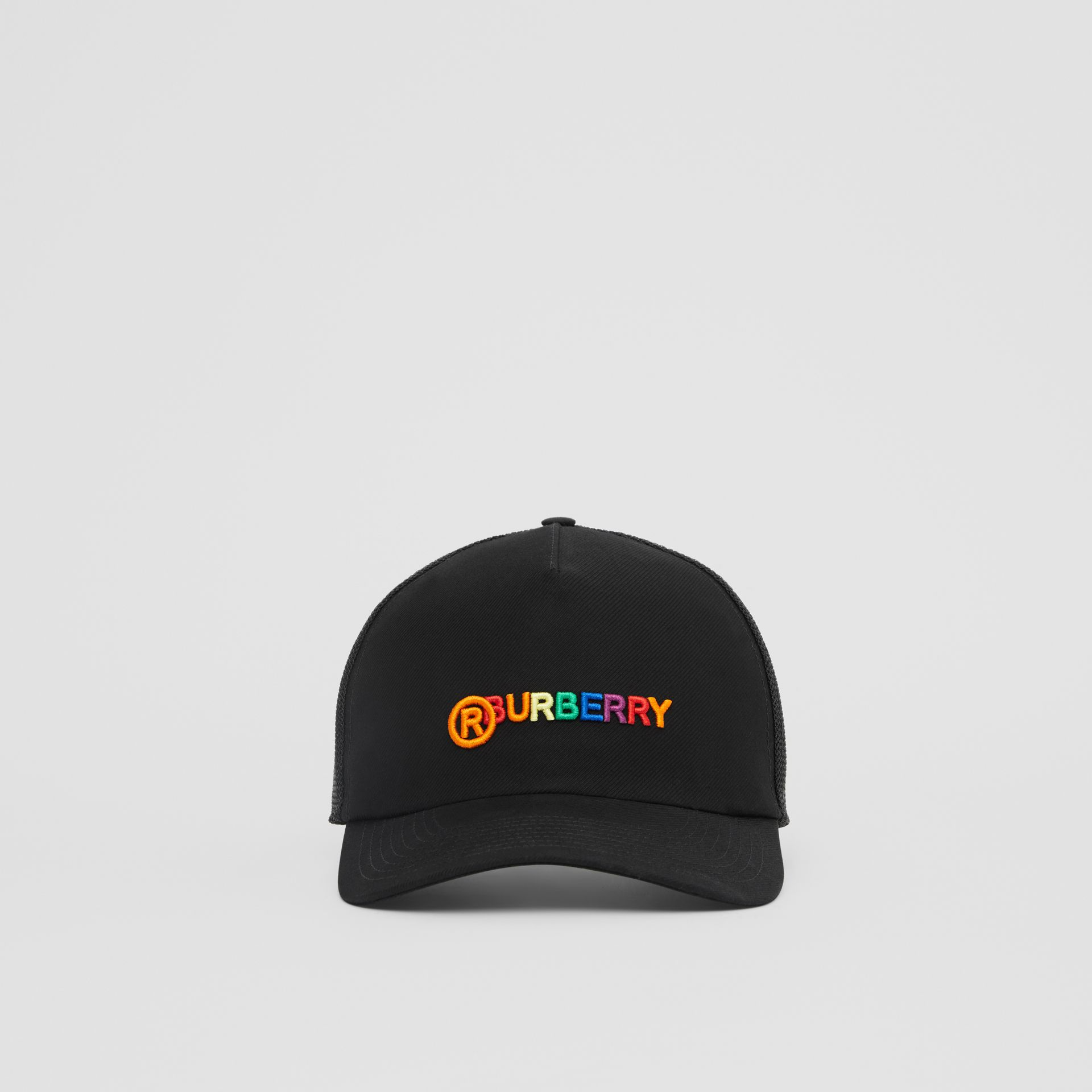 Rainbow Logo Baseball Cap in Black | Burberry United Kingdom - gallery image 0