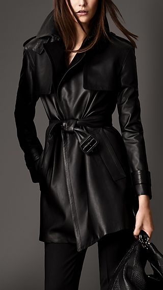 Mid-Length Lambskin Wrap Trench Coat