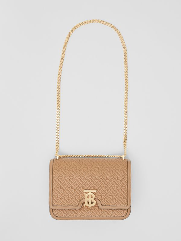 Medium Quilted Monogram Lambskin TB Bag in Honey - Women | Burberry United Kingdom - cell image 3