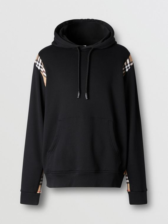 Vintage Check Panel Cotton Hoodie in Black