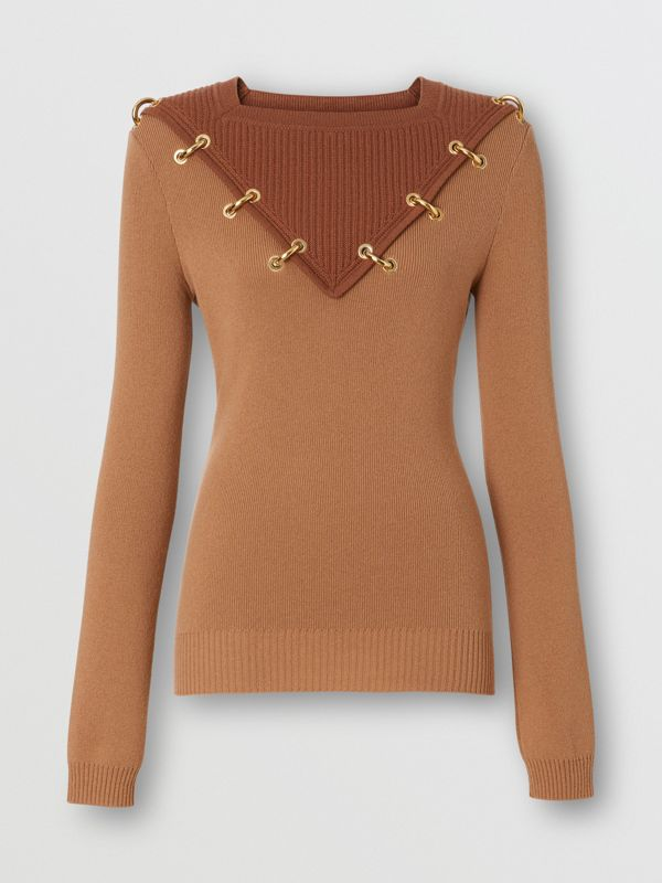 Ring-pierced Two-tone Wool Cashmere Sweater in Warm Camel - Women   Burberry - cell image 3