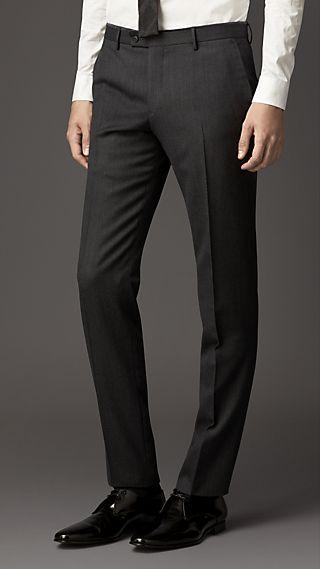 Slim Fit Velvet Detail Wool Flannel Trousers