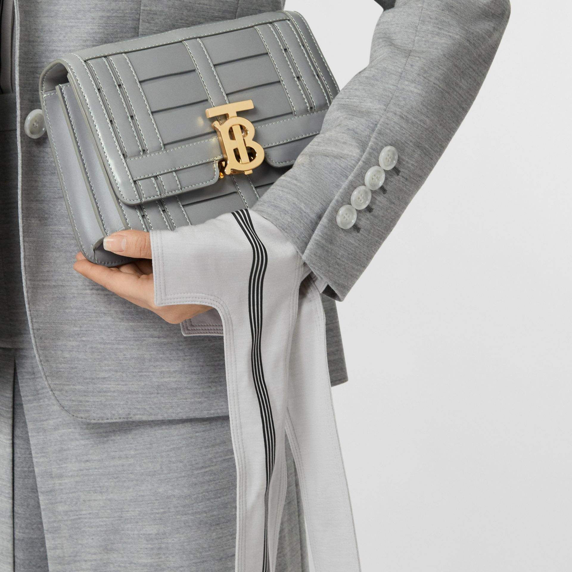 Small Woven Leather TB Bag in Cloud Grey - Women | Burberry - gallery image 8