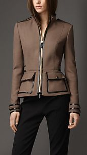 Leather Detail Military Jacket
