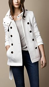 Short Funnel Collar Trench Coat