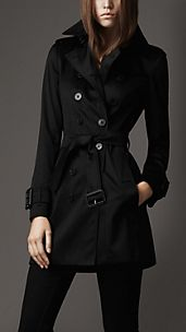 Trench-coat mi-long en coton extensible