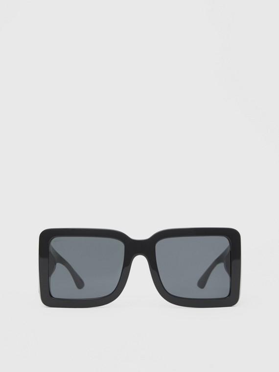 Sonnenbrille mit eckigem Gestell und B-Motiven (Schwarz)