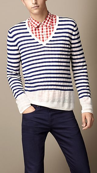 Linen Silk Striped Sweater