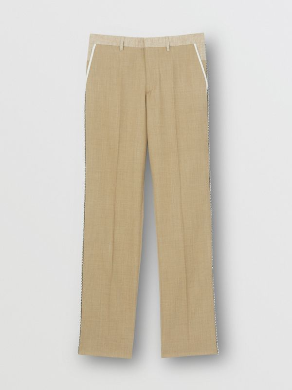 English Fit Crystal Embroidered Wool Cashmere Trousers in Pecan Melange | Burberry United Kingdom - cell image 3