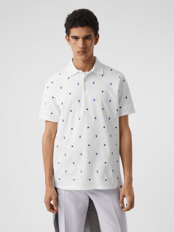 Star and Monogram Motif Cotton Piqué Polo Shirt in White