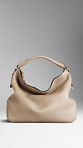 Medium Heritage Grain Leather Hobo Bag