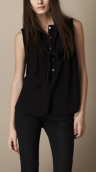 Tie-Detail Sleeveless Crepe Shirt