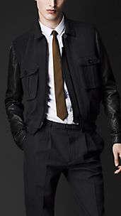 Leather Sleeve Academy Jacket