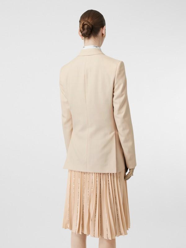 Waistcoat Detail Mohair Silk Blend Blazer in Sesame - Women | Burberry - cell image 2