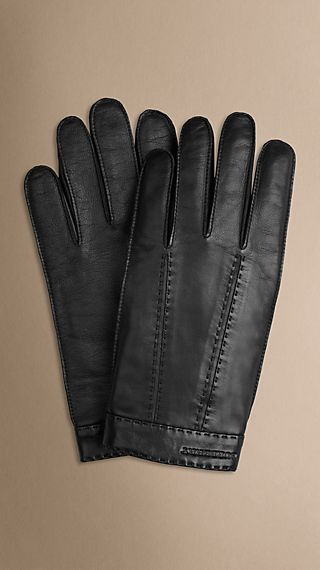 Cashmere-Lined Leather Touch Screen Gloves