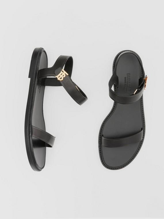 Monogram Motif Leather Sandals in Black