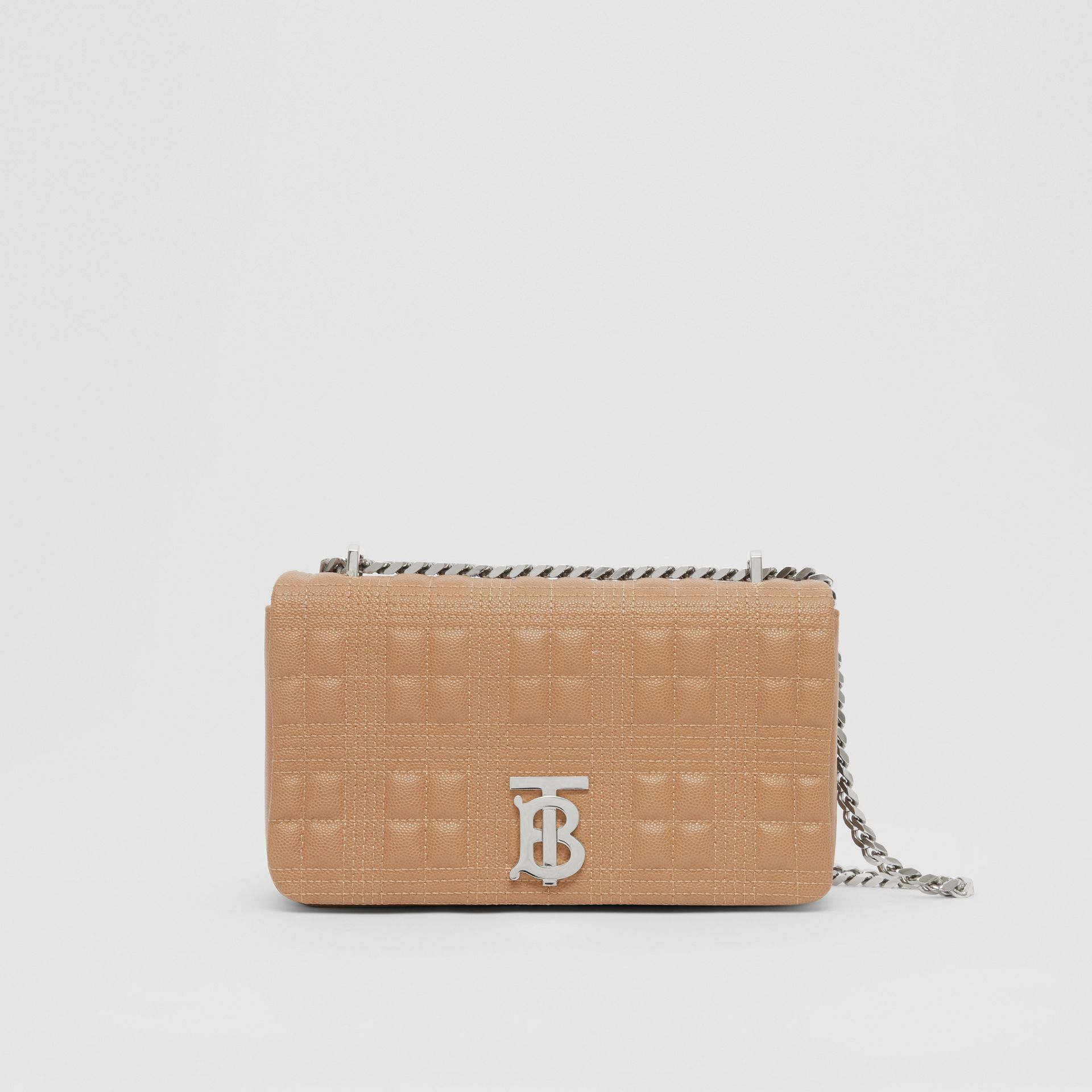 Small Quilted Grainy Leather Lola Bag in Camel/palladium | Burberry United Kingdom - gallery image 0