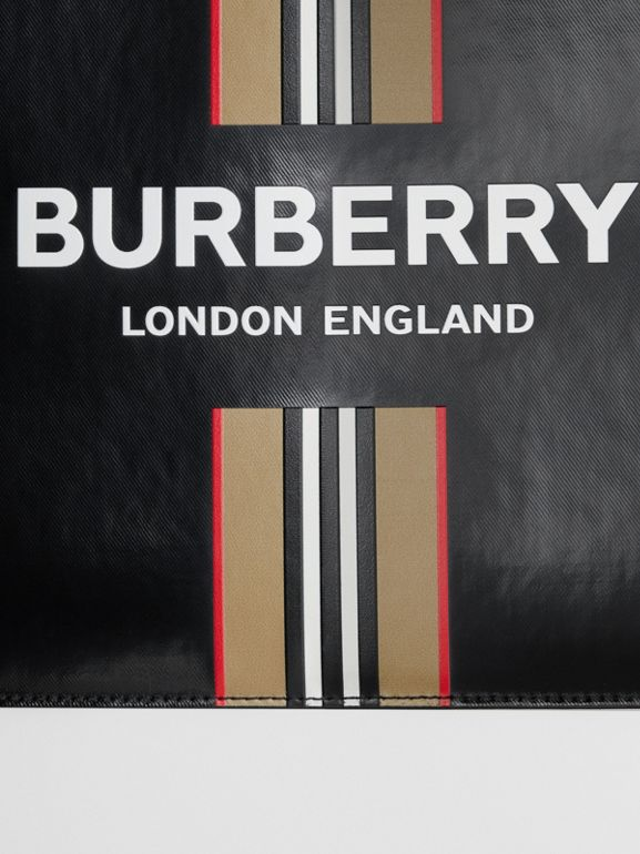 Logo and Icon Stripe Print Coated Canvas Zip Pouch in Black | Burberry United Kingdom - cell image 1