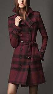 Mid-Length Check Trench Coat
