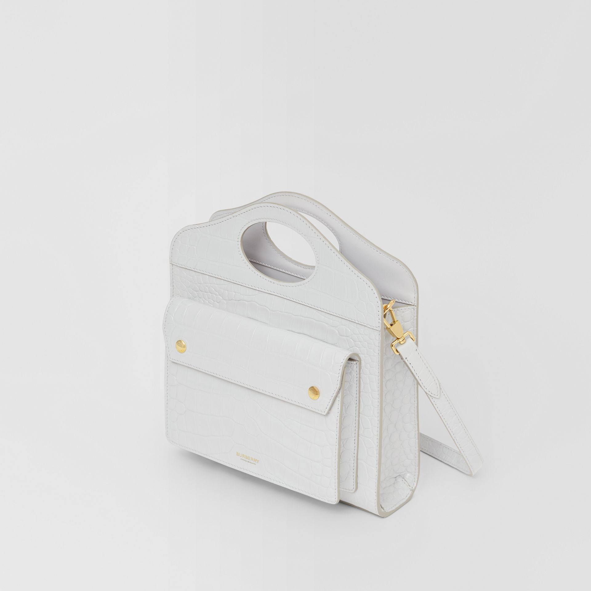 Mini Embossed Leather Pocket Bag in Light Pebble Grey - Women | Burberry - gallery image 3