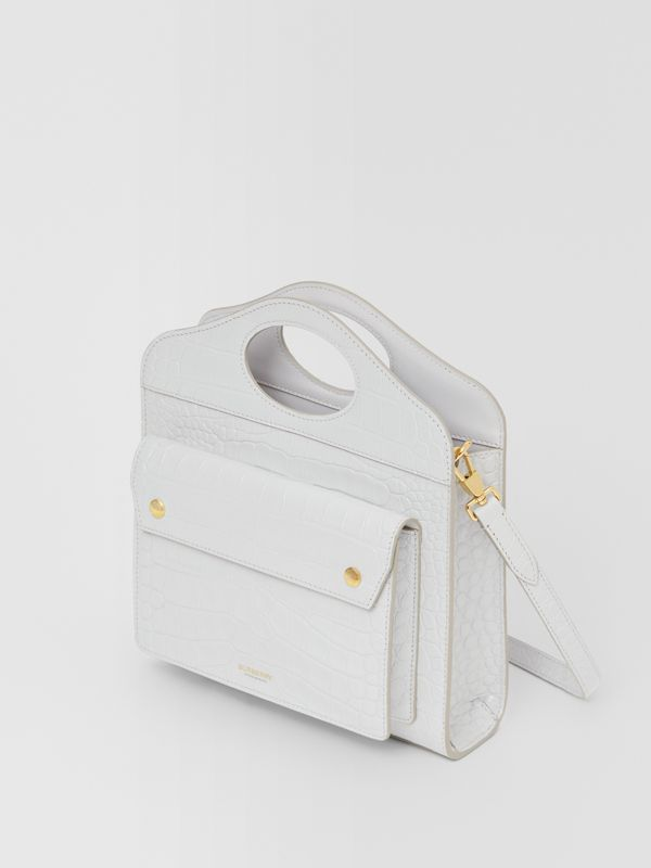 Mini Embossed Leather Pocket Bag in Light Pebble Grey - Women | Burberry - cell image 3