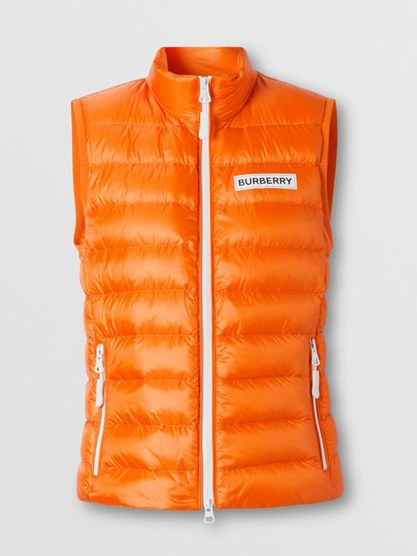 Logo Print Lightweight Puffer Gilet in Bright Orange - Women | Burberry - cell image 3