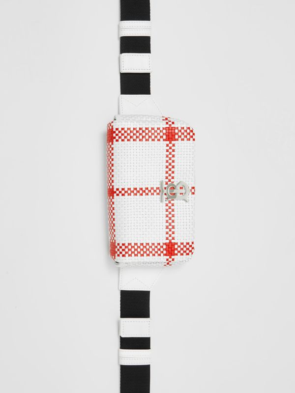 Latticed Leather Lola Bum Bag in White/red - Women | Burberry - cell image 3