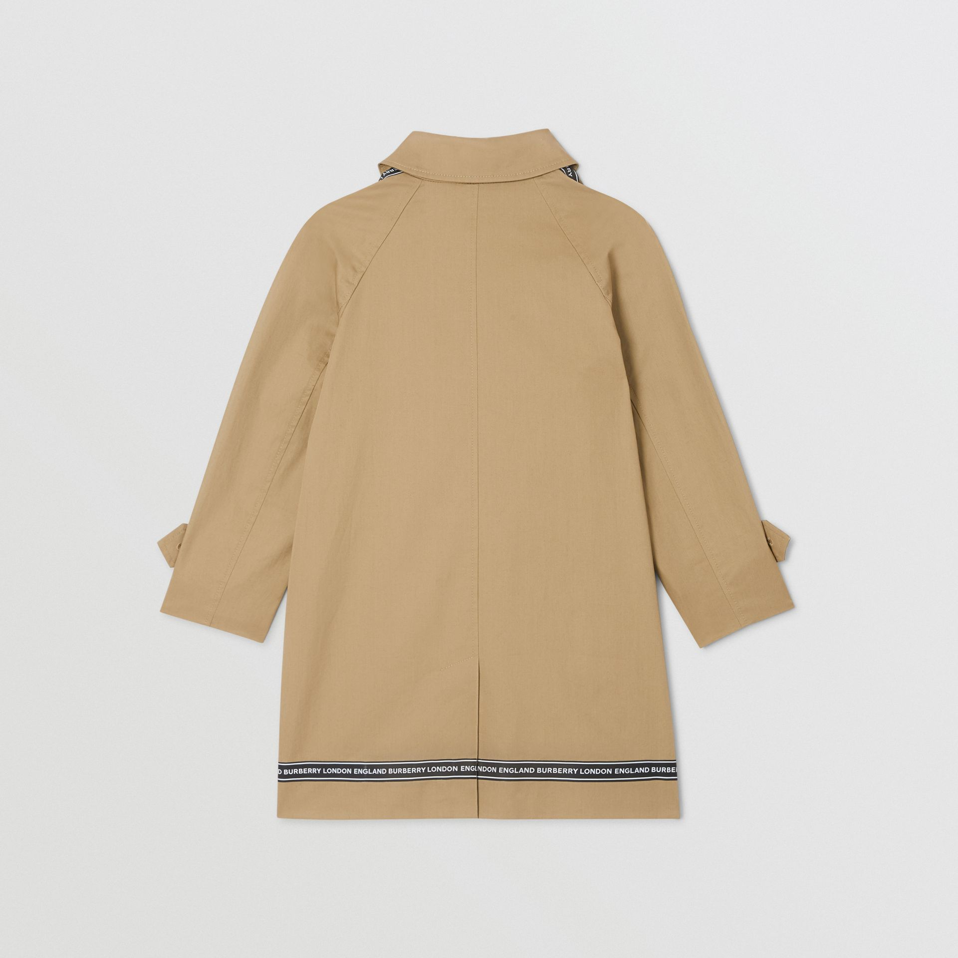 Logo Tape Cotton Car Coat in Honey   Burberry - gallery image 3