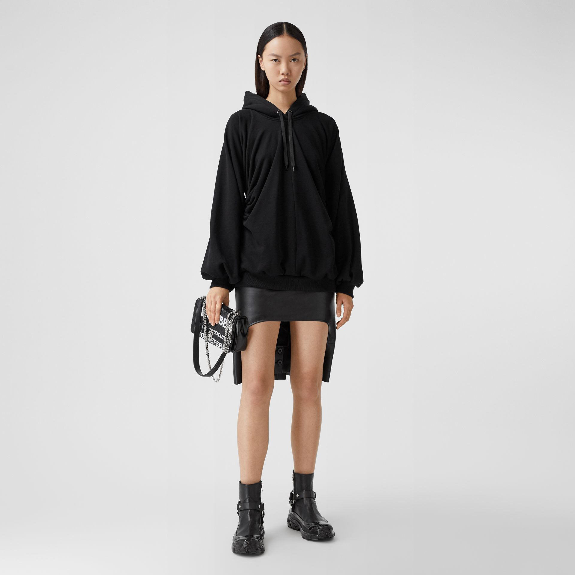 Location Print Gathered Cotton Oversized Hoodie in Black | Burberry United Kingdom - gallery image 0