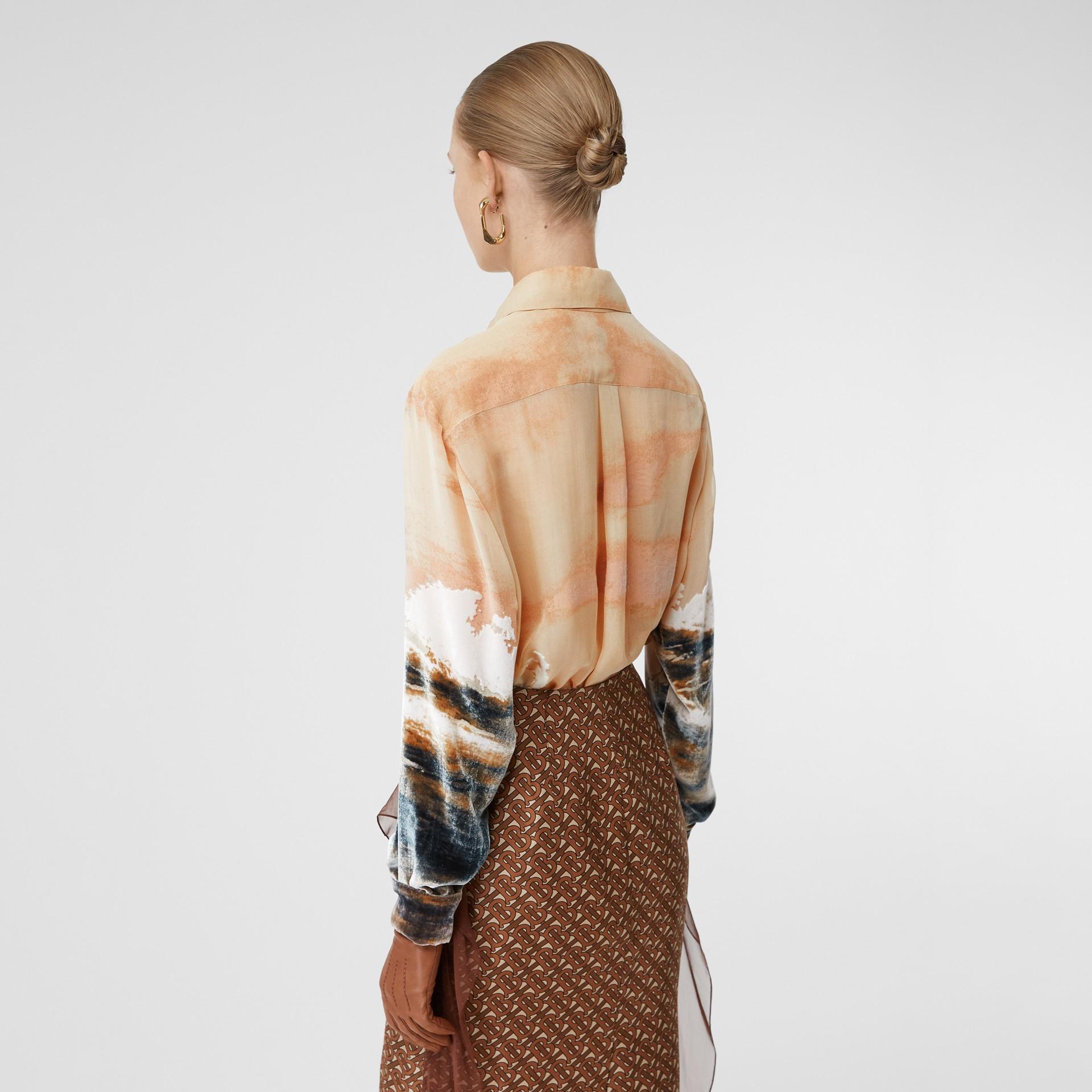 Ship Print Devoré Silk Blend Oversized Shirt in Bronze - Women | Burberry - gallery image 2