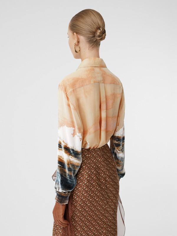 Ship Print Devoré Silk Blend Oversized Shirt in Bronze - Women | Burberry - cell image 2