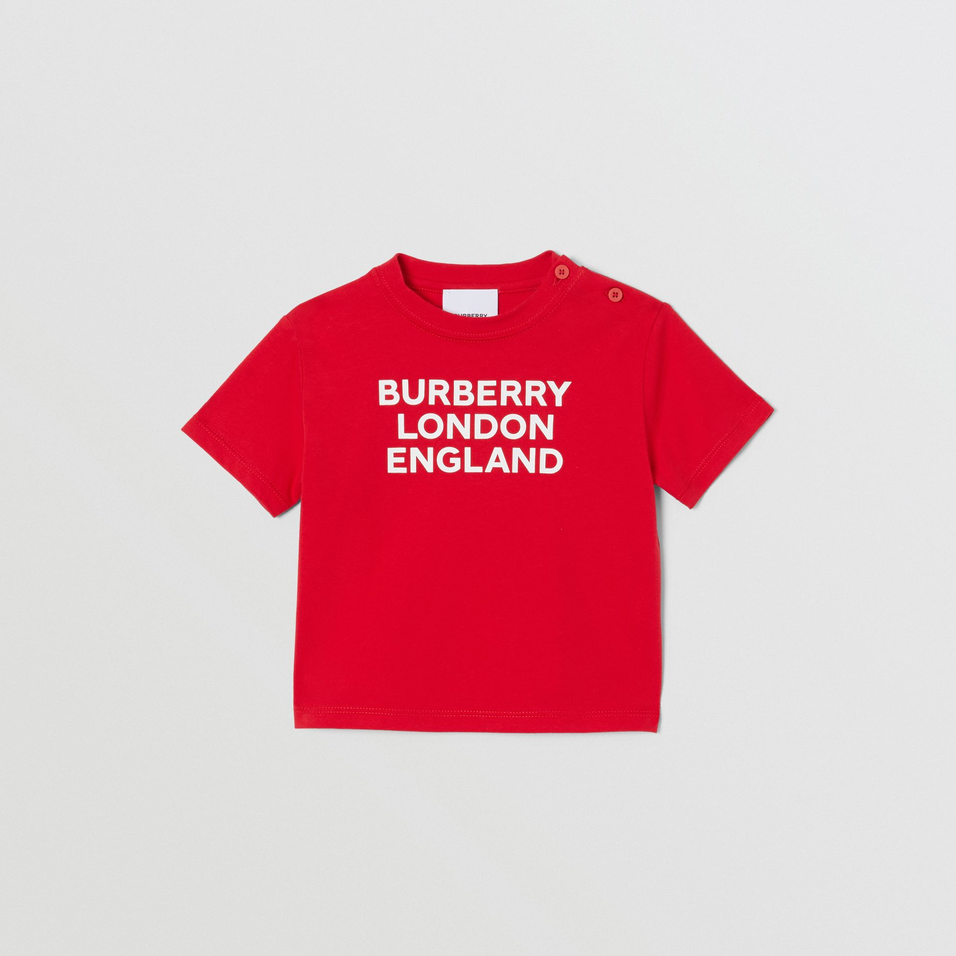 Logo Print Cotton T-shirt in Bright Red - Children | Burberry United Kingdom - gallery image 0